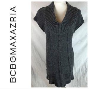 BCBGMAXAZRIA Gray Tunic Cap Sleeve Sweater Dress